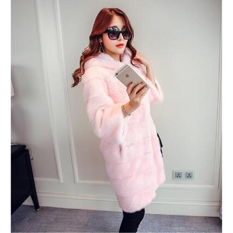 White Extérieure Capuchon Long 2018 Manteau Survêtement Chaud La019 Couleur Neuf Droit gray pink Qazxsw De Fourrure Avec black Femmes Hiver Nouvelle Veste Mode Manches Solide 1Wx8azfqw