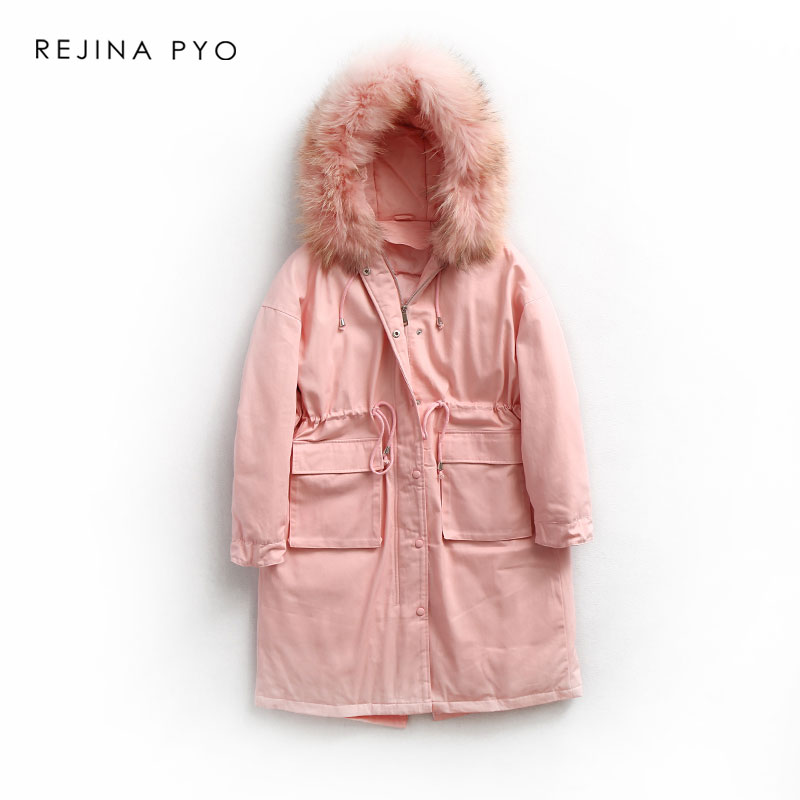 REJINAPYO Women High Street White Duck Down Long Coat Thick Warm Clothing with Real Raccoon Fur Hooded Winter Outerwear