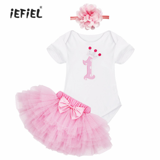 bfc4ac172e7 Baby Girl Dress Cotton Children Outfit New Year Pink Cake Pattern Children Clothes  Headband Set Toddler My First Birthday Outfit