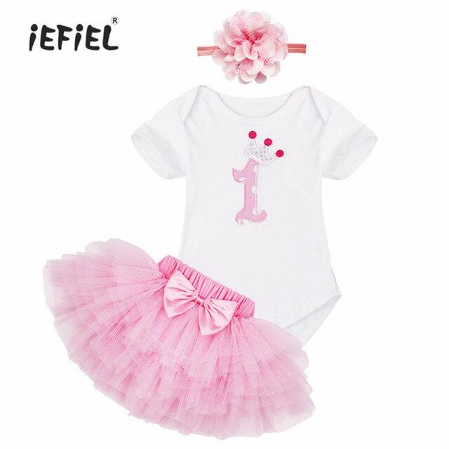 bb4803d13 Vestido de niña de algodón niños traje de Año Nuevo pastel Rosa patrón niños  ropa diadema