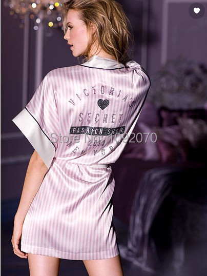 438a2505e80 Diamante Fashion T Show Victoria Love Pink And White Stripe Satin Sexy Faux  Silk Night Robe Night Gown Women Nightdress Pyjamas