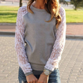 Womens Newest O-neck Sweatshirts Tops Lace Patchwork Long Sleeve Casual Plus Size XXL 3XL 4XL Q1170