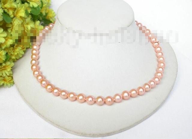 Venda Hot new Style >>>>> AA + Natural 8mm redondo rosa pérolas colar 14KGP j7677