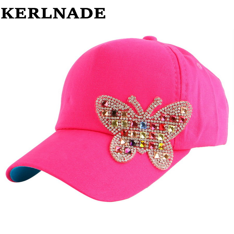 4-11 Year  Boy Girl Children Luxury Beauty Summer Baseball Cap Multi Color Rhinestone Butterfly Kids Child Fashion Snapback Hat(China)