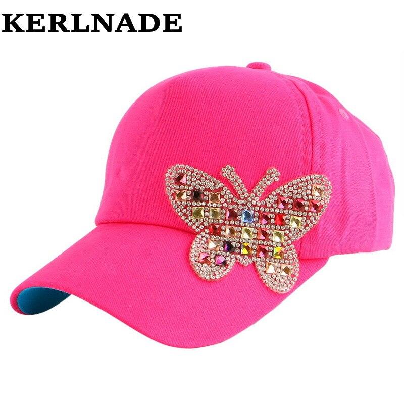 4-11 año muchacha niños belleza de lujo verano gorra de béisbol multicolor  rhinestone mariposa niños niño moda snapback sombrero e416bd460f0
