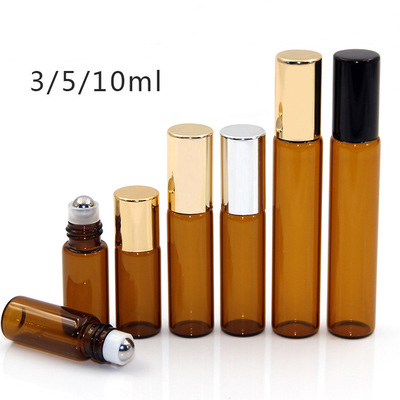 1000 Pcs Lot Refillable 3ml 5ml 10ml Amber Roll On Perfume Glass Bottle Essential Oil Bottle