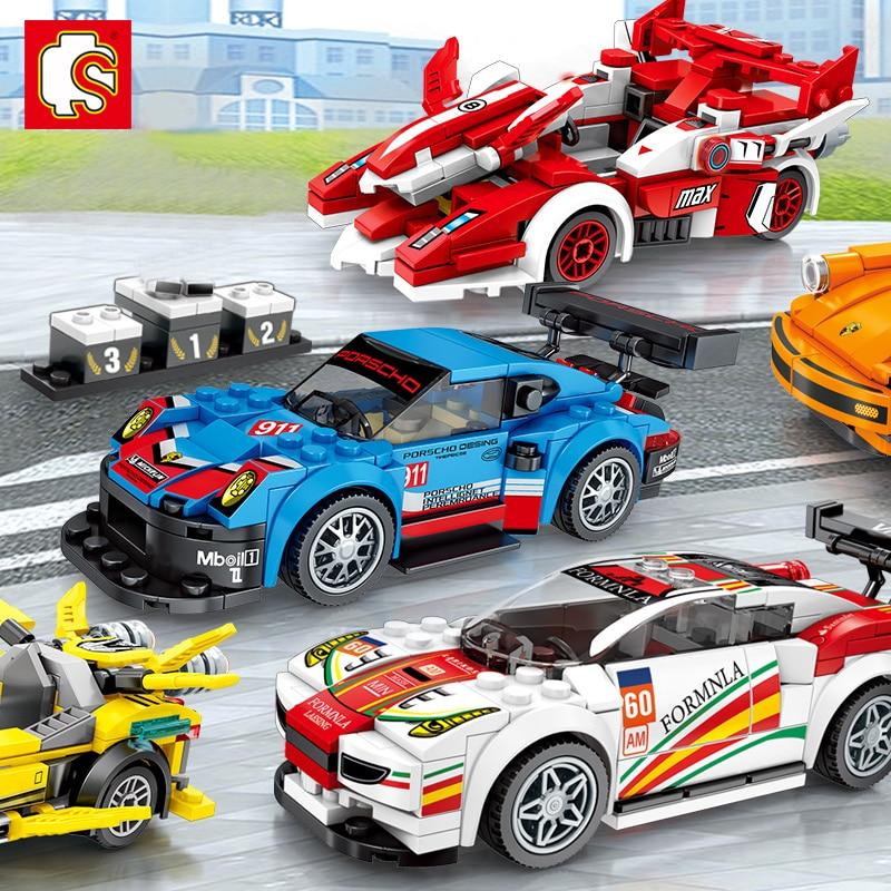 New City Super Racers Model Building Blocks Compatible LegoINGlys DIY Racing Car Bricks Blocks Sets Toys For Kids Chlidren Gift