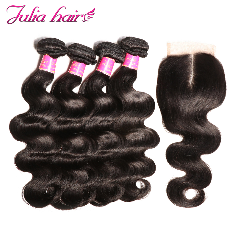 Ali Julia Body Wave Peruvian Human Hair Weave Bundles With Closure 4 Bundles 1 Lace Closure