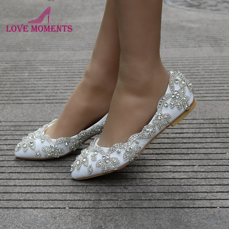 15e5967095e0 2018 Gorgeous White Flats Heel Wedding Party Shoes Silver Rhinestone Formal Dress  Shoes Pointed Toe Bridesmaid