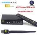 1 Año Europa Servidor Cccam HD Freesat V8 Súper DVB-S2 Satélite receptor Lleno 1080 P Italia España Cline Con 1 unid USB Wifi Cccam