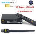 1 Year Europe Cccam Server HD Freesat V8 Super DVB-S2 Satellite Receiver Full 1080P Italy Spain Cccam Cline With 1pc USB Wifi