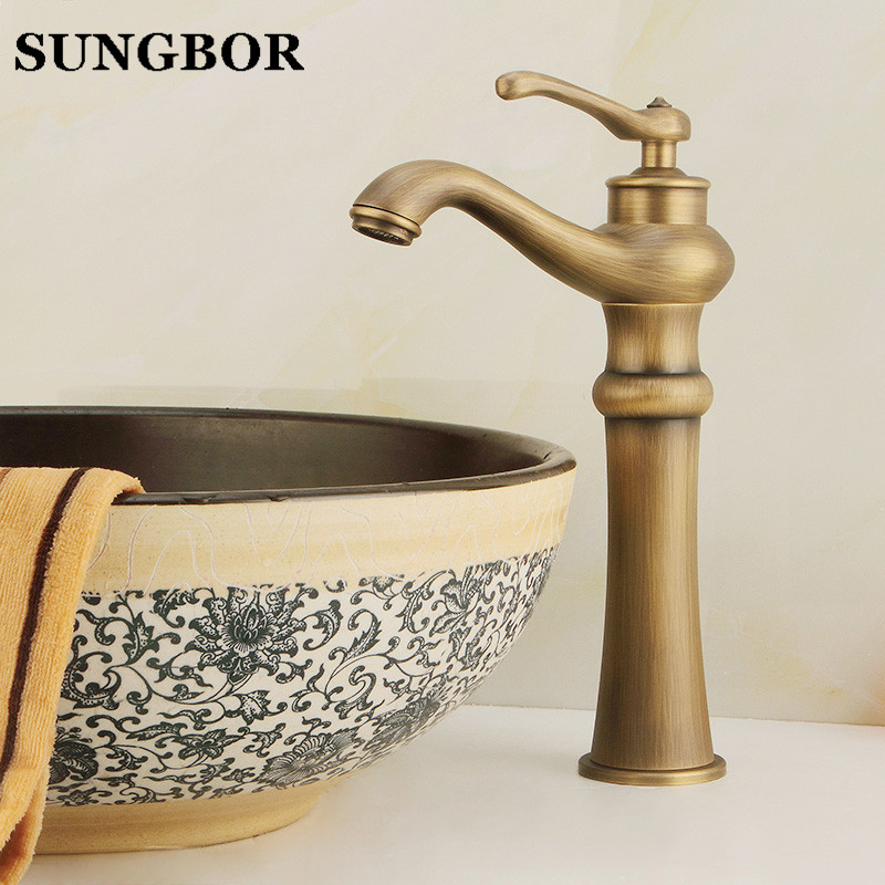 Free shipping luxury antique bathroom faucet,hot and cold basin taps,classic brass brushed bathroom vessel mixer faucet AL-7195F free shipping luxury new style bathroom basin faucet kitchen faucet hot