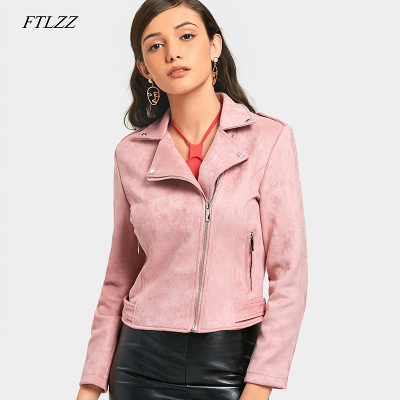 FTLZZ Women   Suede   Faux   Leather   Jackets Motorcycle Coat Black Punk Biker Bomber Jacket Pink Red Female Short   Suede   Outwear