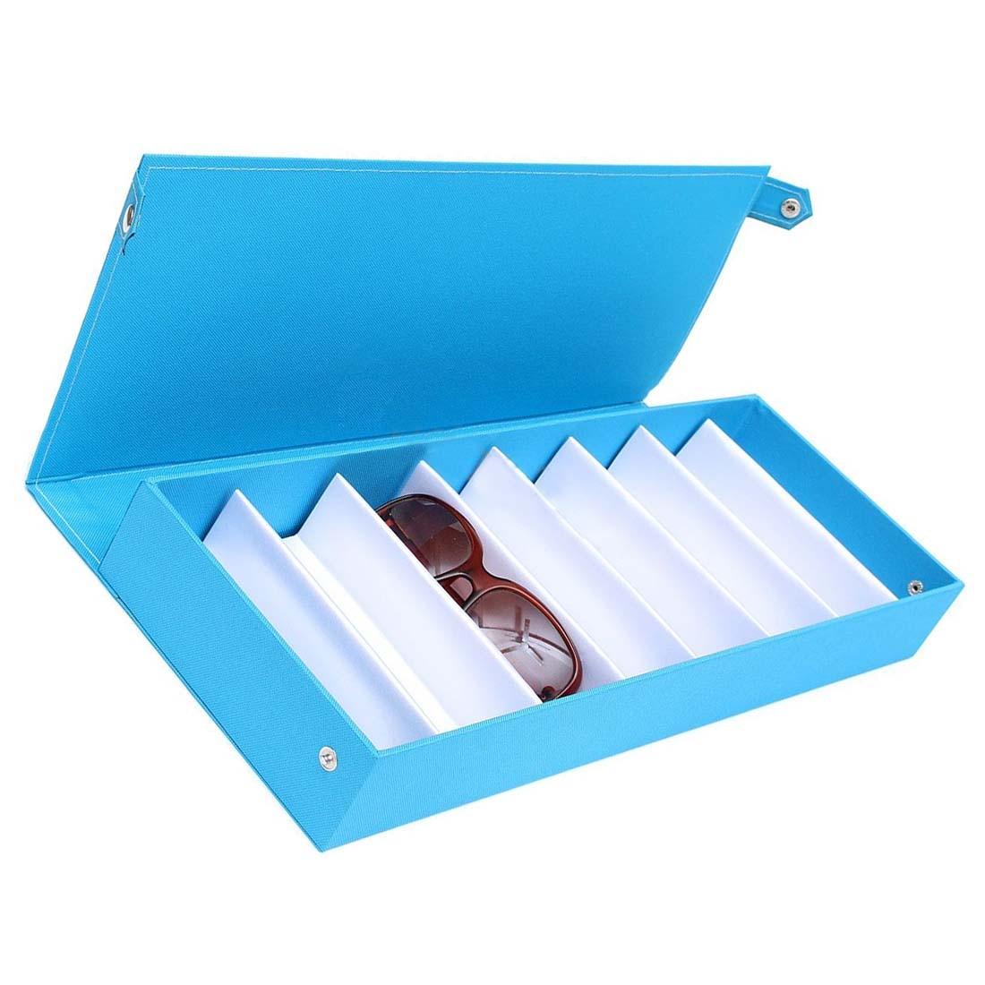 Nova Caixa de Óculos De Sol Caso Óculos Saco Bolsa Porta Caso Bandeja de Exibição Azul