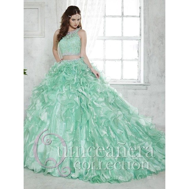 a9f05a91d12 2016 beaded lace pink Puffy quinceanera dresses two pieces with removable skirt  mint green 15 years old girls ball gown Dresses