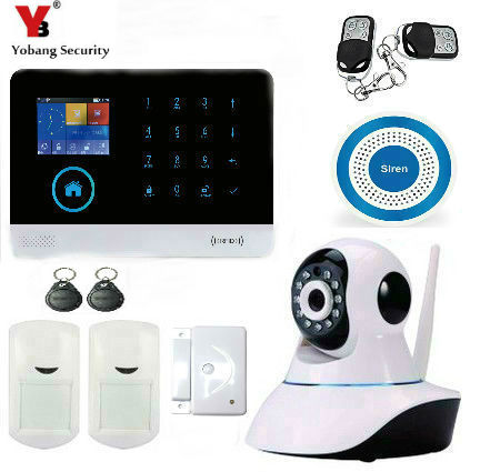 YoBang Security Wireless GSM Secure IP Camera WiFi Home Safely Surveillance Alarm System,PIR Motion Detector+Smoke Alarm .