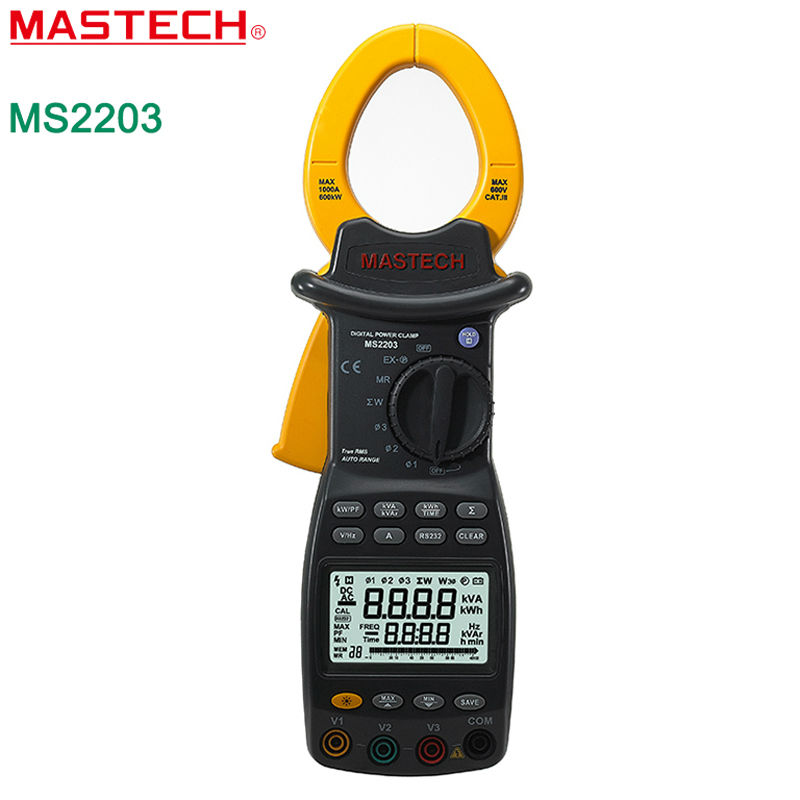 MASTECH MS2203 Three Phase Intelligent Digital Power Clamp Meter Support RS232 with 9999 Counts high precision  цены
