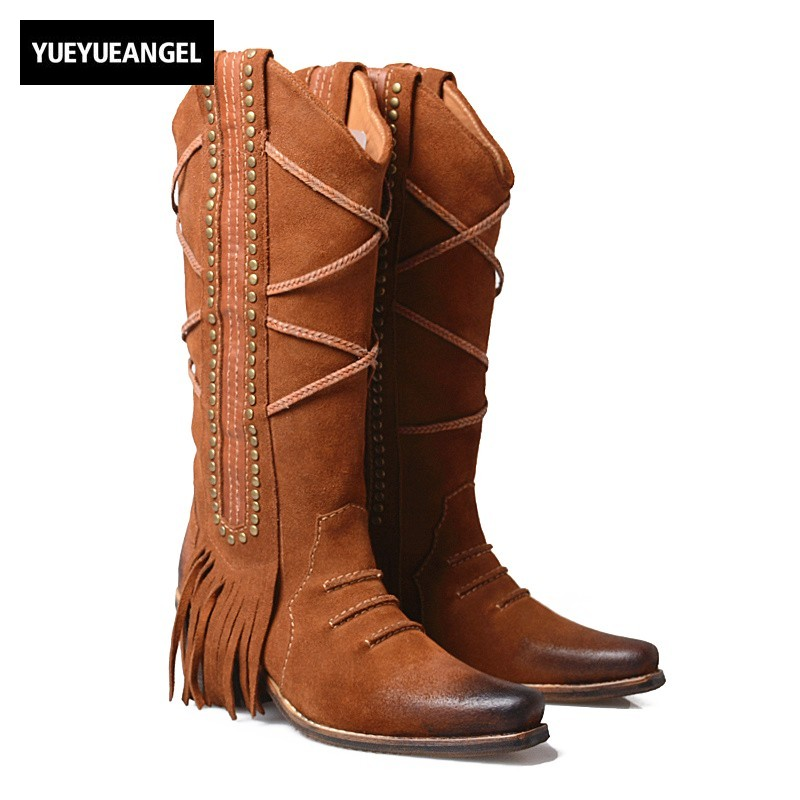 Top Thick Heels Half Boots Sapato Women Street Black Brown Pointed Toe Tassel Retro Thigh High Boots Winter Quality Knight Boots