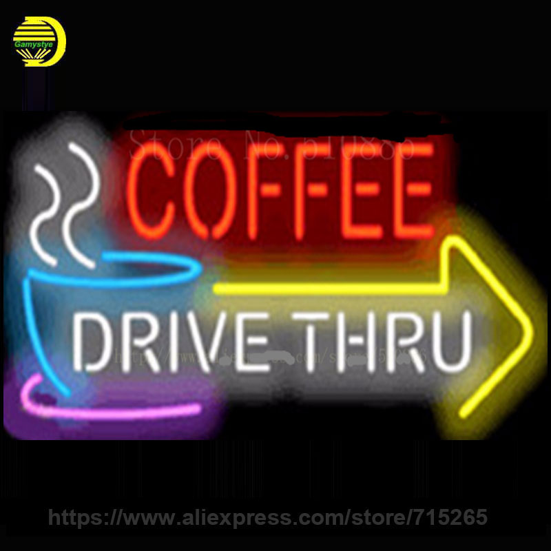 Custom Neon Sign For Coffee Drive Thru with Right Arrow Glass Tube Display Light Lamp Bar Beer Pub Decor Bulb Neon Signs 19x15