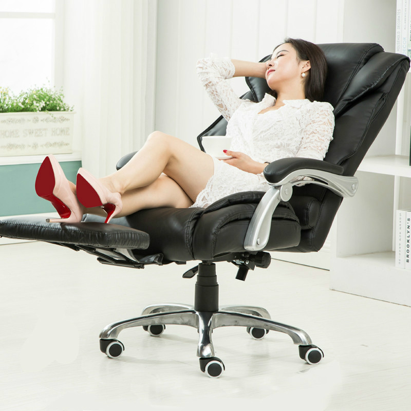 Hot sale high performance home lying computer chair boss chair seat comfortable swivel lift office chair with a foot rest high quality boss chair home computer chair pu office swivel chair seat bow lay staff meeting seat