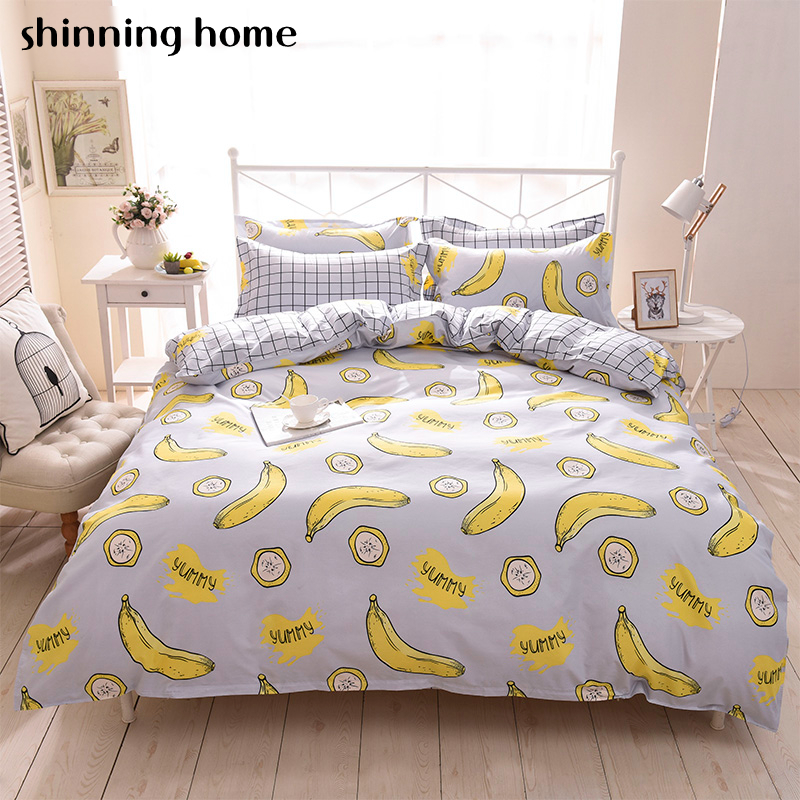 Banana Cartoon 3/4pc bedding sets bed set bedclothes for kid bed linen EUR Duvet Cover Bed sheet Pillowcase twin full queen king