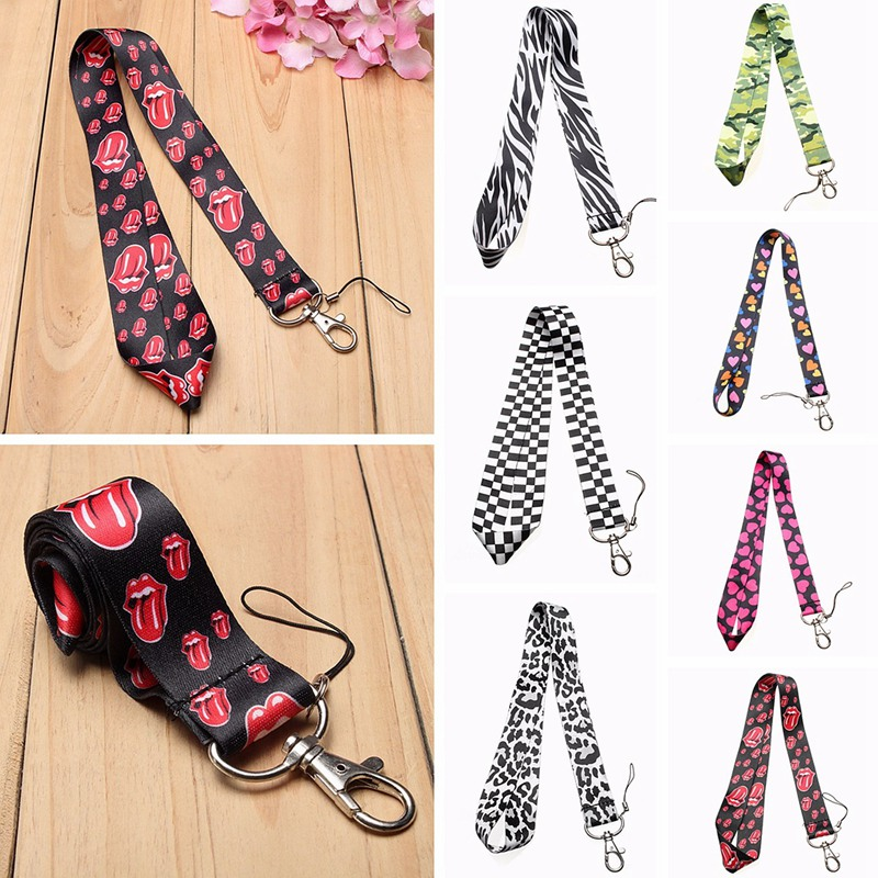 Universal Nylon 90cm <font><b>Neck</b></font> Long Lanyard Mobile Phoen Strap ID Card <font><b>Phone</b></font> Badge Bag Chain <font><b>Holder</b></font> Stripe Heart Pattern Portable