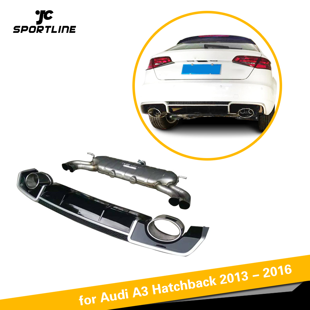 Car-Styling PP + Stainless Steel <font><b>Rear</b></font> <font><b>Diffuser</b></font> With Exhauat Tip for <font><b>Audi</b></font> <font><b>A3</b></font> Hatchback 2013 - <font><b>2016</b></font> image