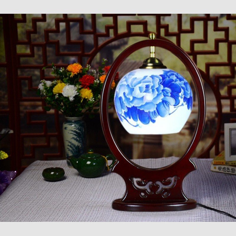 Chinese style ceramic table lamp desk retro bedroom study desk lamps wood Museum decorative furniture lamps ZA413515