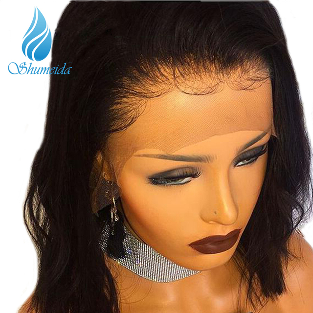 Shumeida 180 Density Lace Front Wig Pre Plucked Hairline Short Wigs