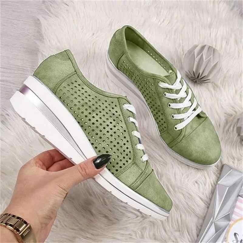 Dahood Đế Độn MÙA HÈ THU Giày Vải Sneaker Thoáng Mát Cho Nền Tảng Giày Meddle Gót Mũi Nhọn Bơm Giày Lưới