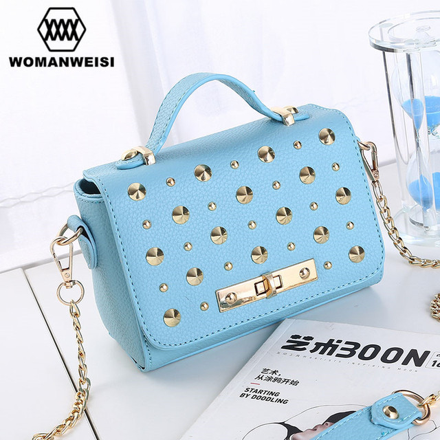 Korean 2017 New Fashion Rivet Punk Style Leather Small Women Handbags Chains Messenger Shoulder Bags Female Crossbody Bolsos