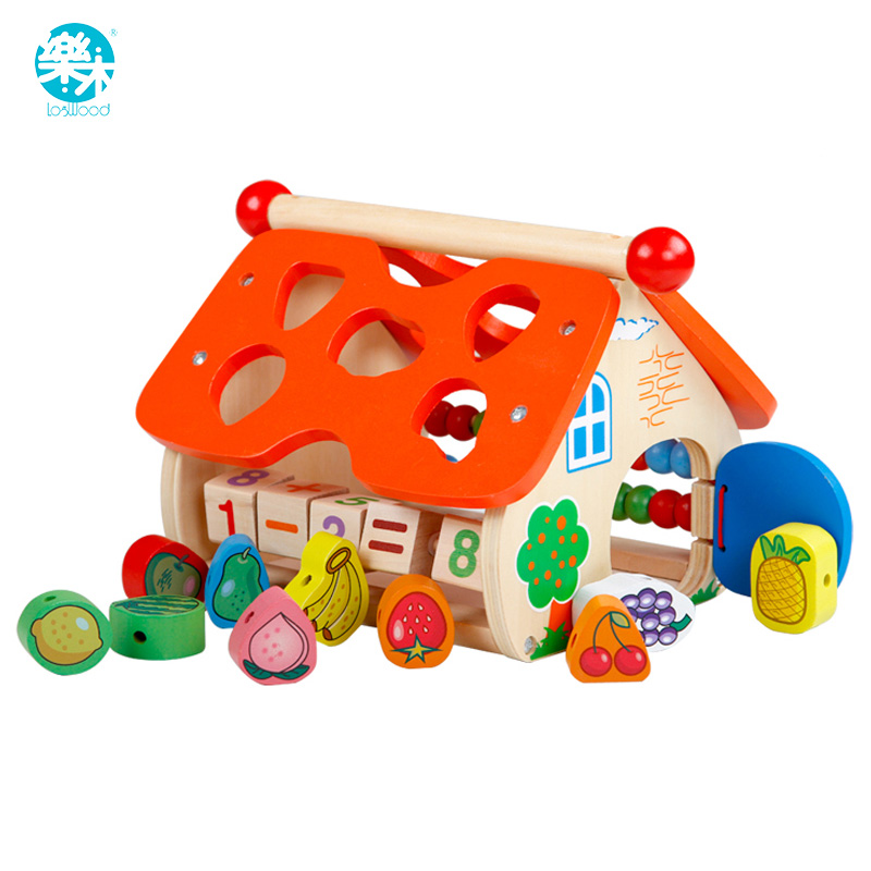 Baby Wooden Toy Shape DIY Fruit Beads Wood House Math Counting Building Block Educational Wooden Block Gift for kid Children
