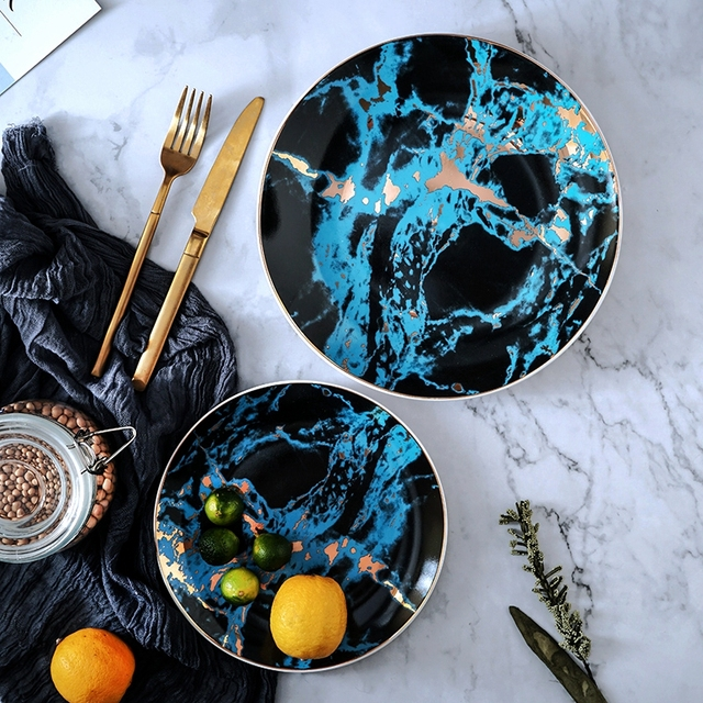 Marble  Gold Inlayed Ceramic Plate
