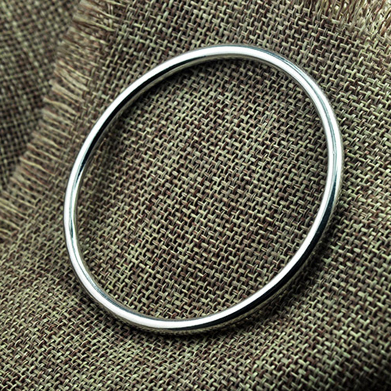 Real Pure 999 Fine Silver Bangle Smooth Closed Type Simple Solid Circle Bracelet For Women Elegant Sterling SIlver Jewelry браслет из авантюрина готика