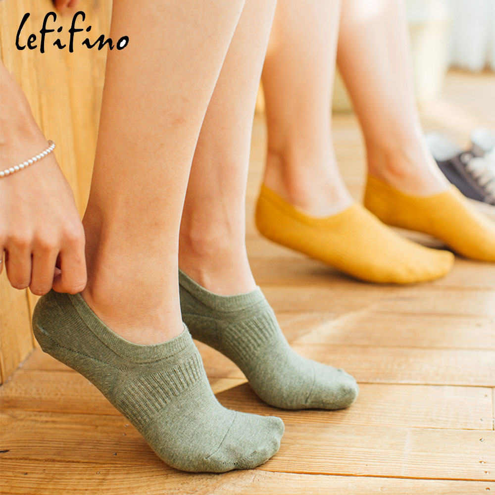 Women New Cute Pure Color Cotton Socks Novelty Low Cut Ankle Socks Female Invisible Non-slip Silicone No Show Socks Le67440 ...