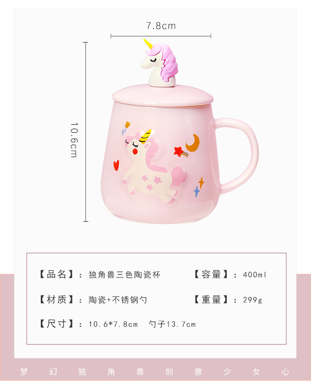 Unicorn Mermaid Coffee Mug with Lid 3D Spoon Ceramic Water Tea Cup Gift for Women Girls Pink 400ml