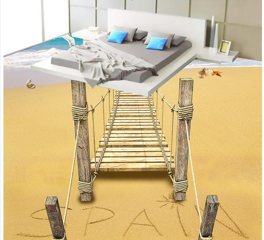 Waterproof Wall Murals Beach Wooden Bridge 3D Floor Pvc Self Adhesive  Wallpaper Home Decoration(