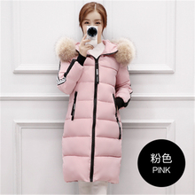 Women Pink Down Jacket With Fur Hooded Cotton Padded Striped Woman Long Winter Coat Large Size Thick Warm Autumn Down Jacket