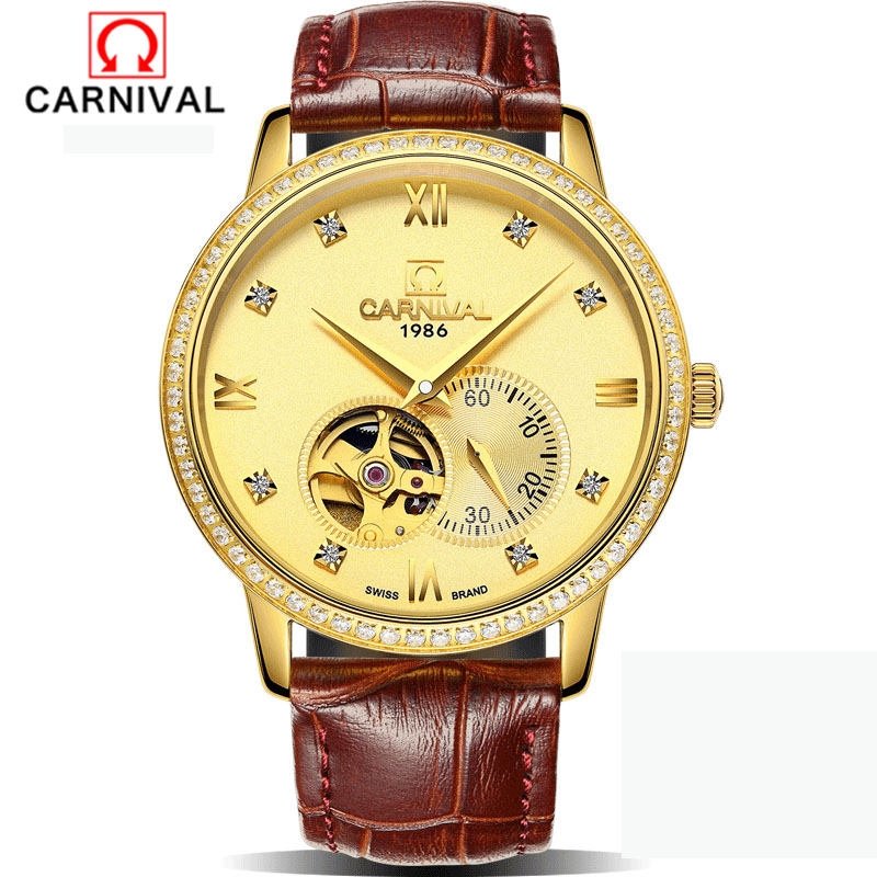 лучшая цена Carnival Skeleton Mens Watches Top Brand Luxury MontreLeather Wristwatch Men Mechanical Watch Black Gold Male Clock Men Relogios