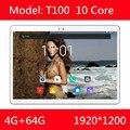 Новейшая модель; T100 10 дюймов 1920*1200 ips экран 4 аппарат не привязан к оператору сотовой связи Android 7,0 10,1 планшетный ПК 10 core 4 Гб Оперативная память...