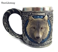 New Unique 3D Stereoscopic Wolf Head Stainless Mug Cup Cartoon Fashion Office Tea Cup Exquisite Distinguished Coffee Cup C392