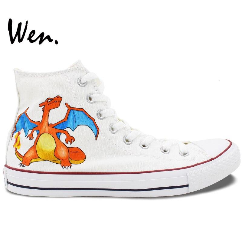 Prix pour Wen Blanc Peint À La Main Anime Chaussures Custom Design Dracaufeu Pokemon Pocket Monster High Top Hommes Femmes de Toile Sneakers