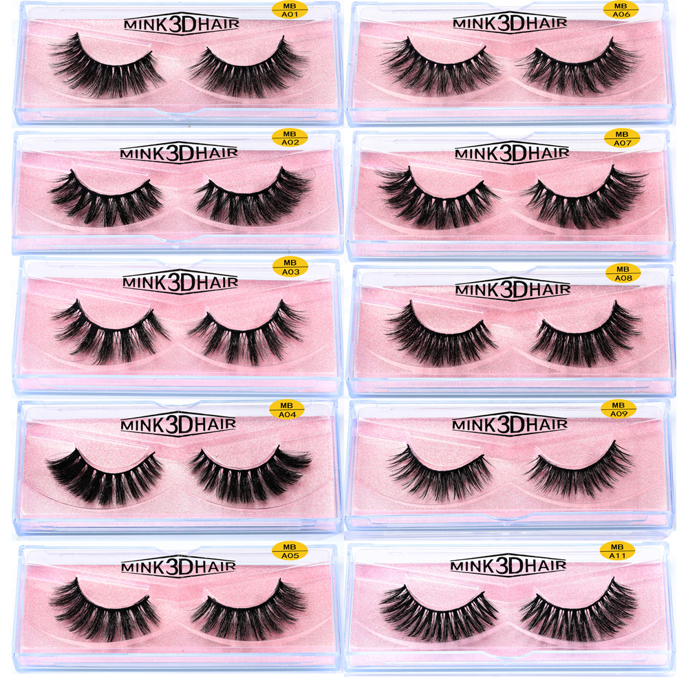 MB 2019 100% Mink Eyelashes Natural Crisscross Cruelty 3D False Eyelashes Makeup Handmade Fake Eye Lashes With Pink Boxes A01-40