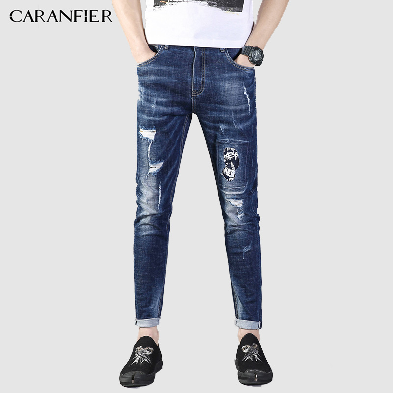 CARANFIER Jeans Men 2018 pantalon jeans homme Hole Trousers Slim Stretch Patch Skinny Men Jeans Fashion Simple Youth Blue jeans