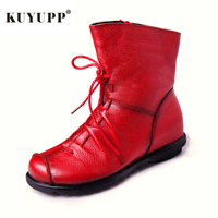 Big Size 35 42 Leather Women Ankle Boots Flat Booties Short Plush Winter Boot For Women