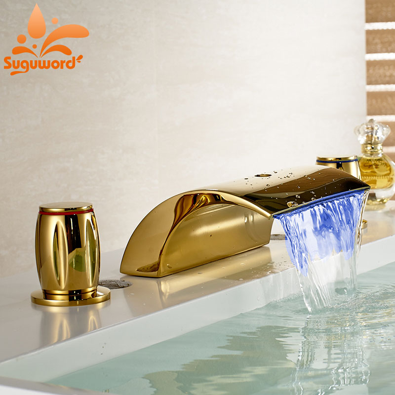 Widespread LED Light Waterfall Tub Filler Fuacet 3 Holes Mixer Tap Gold Polished цена