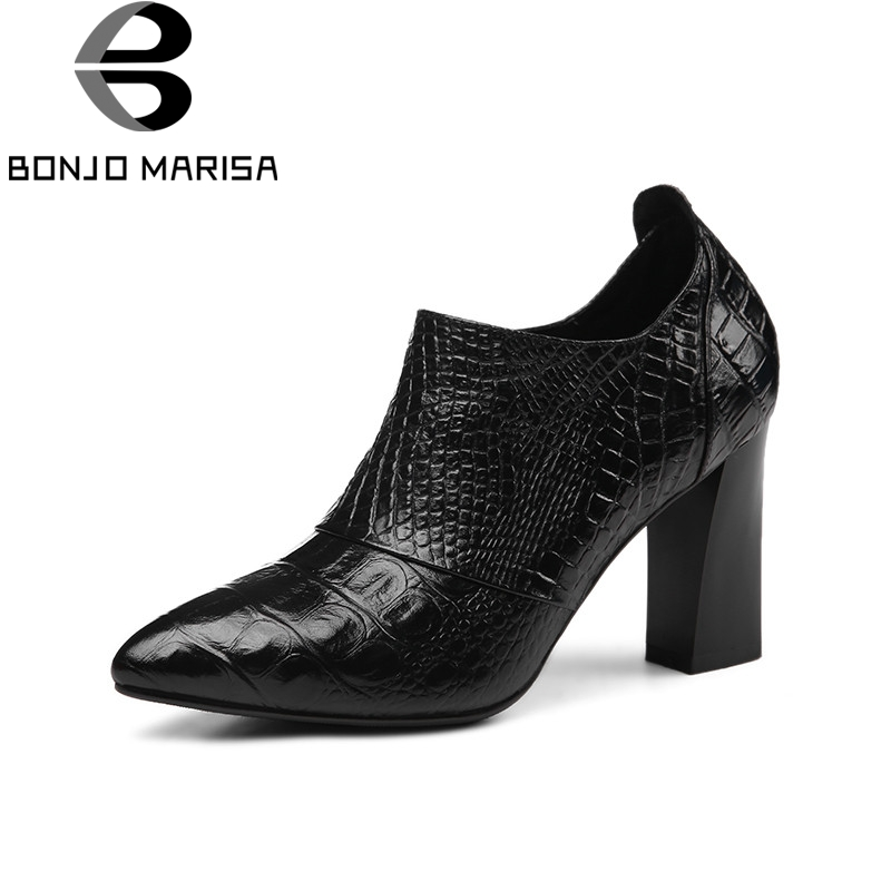BONJOMARISA 2018 Spring Autumn New Western Style Genuine Leather Women Pumps Black Fretwork Ol Heels Shoes Woman Big Size 33-40 2016 new pumps ol style thick high heels women shoes with bowtie pu leather shoes woman for spring 3 colors size 35 39 xwd717