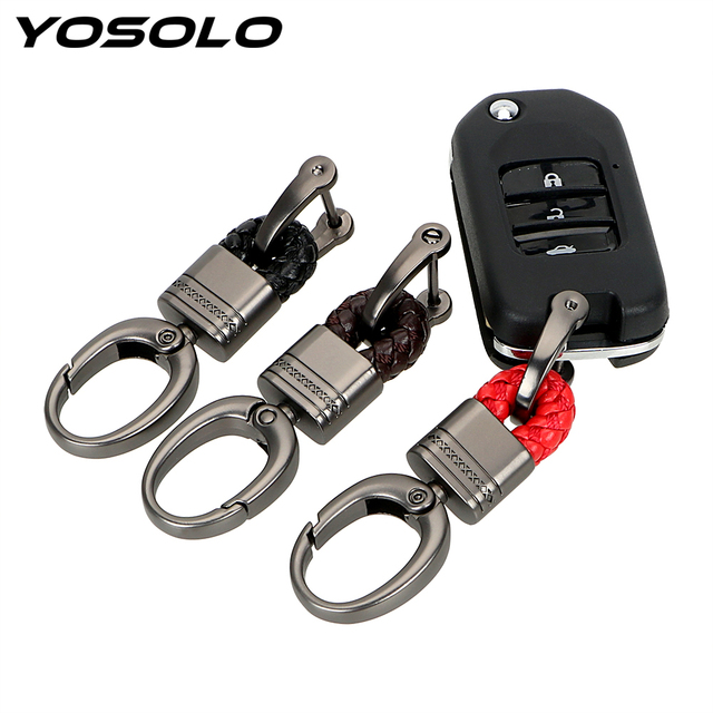 YOSOLO 1 Piece Hand Woven Horseshoe Buckle Keychain Auto Accessories Key Chain Key Rings Gift Key Holder Car Keyring