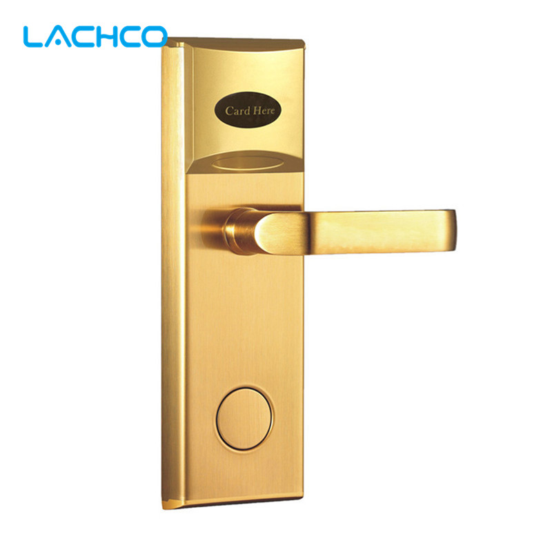LACHCO Electronic Card Door Lock RFID Card Electric Keyless Lock For Home Hotel Office Room Latch with Deadbolt  L16038SG lachco card hotel lock digital smart electronic rfid card for office apartment hotel room home latch with deadbolt l16058bs