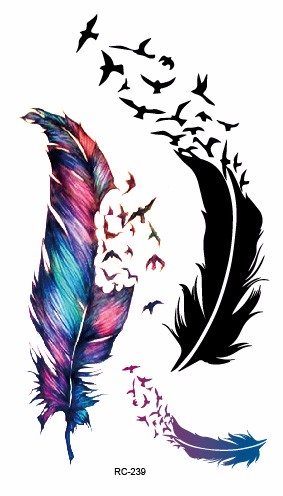 Rocooart RC2239 Body Art Water Transfer Fake Tattoo Sticker Temporary Tattoo Sticker Blue Black Wind Blown Feathers Taty Tatoo 22